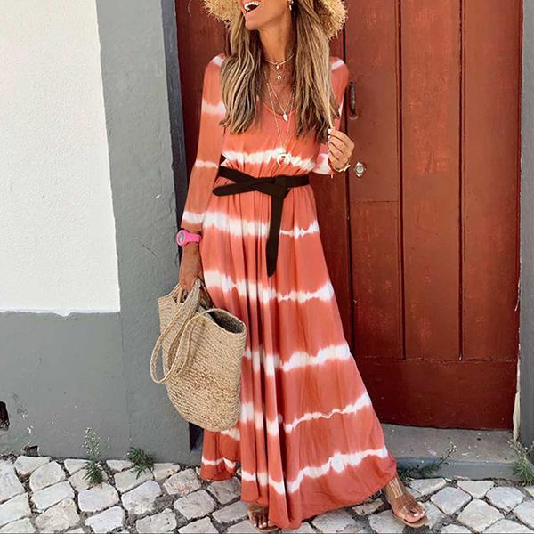 Long Sleeve V-Neck Tie-Dyed Striped Dress