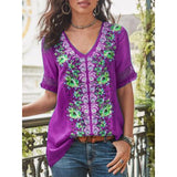 Short-Sleeve Blend Patchwork V Neck Shirts