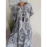 Summer Round Neck Printed Shift Dress