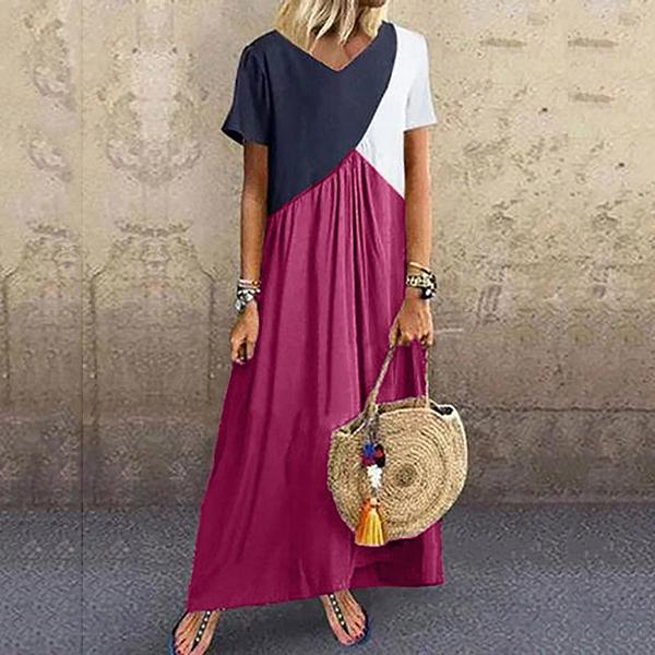 Casual Block V-Neck Plus Size Maxi Dresses