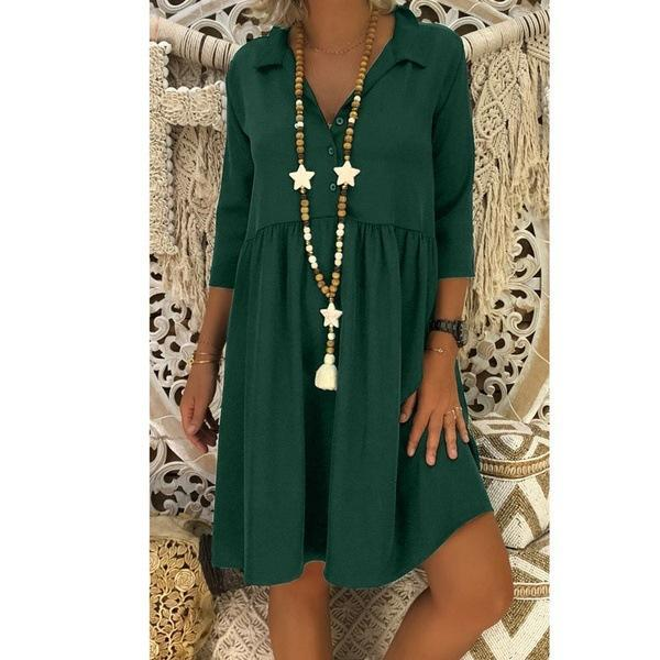 V-neck Button Large Size Dress