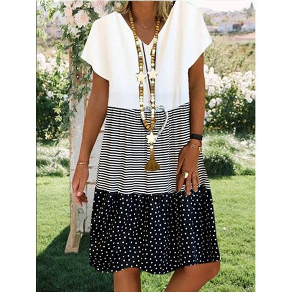 Women's Summer Fashion Print V-neck Short Sleeve Dress