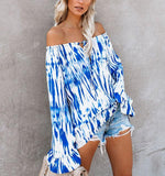 Fashion Off-The-Shoulder Printed Blouse