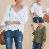 Solid Color V Neck 3/4 Sleeve Blouse