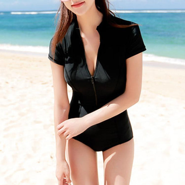 Short Sleeved Gather Zipper Swimsuit
