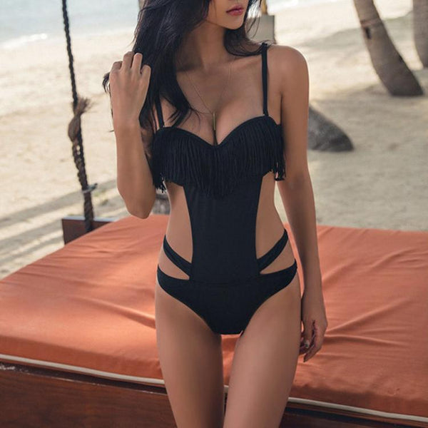 Sexy Black Tassel Straps One-Piece Swimwear