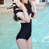 Sexy Cross Straps Off Shoulder One-Piece Swimwear