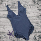 V-Neck Solid Color One-Piece Swimwear