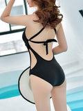 Spaghetti Strap  Lace-Up  Hollow Out Plain One Piece