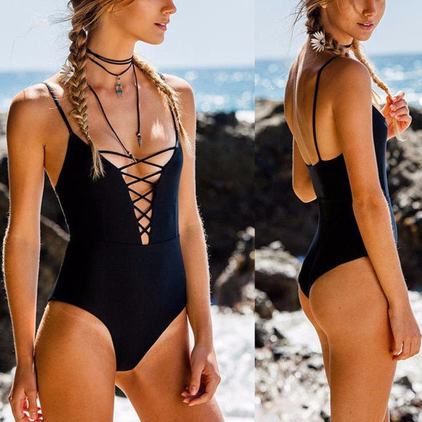 Sexy Hollow Halter One-Piece Swimwear