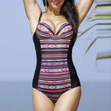 Plus Size Sexy Printed Deep V One Piece Swimsuit Swimwear For Women