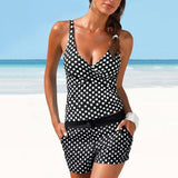Deep V-Neck  Polka Dot  Mid-Rise Swimwear