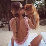 Sexy Flower Backless Swimsuit Bikini