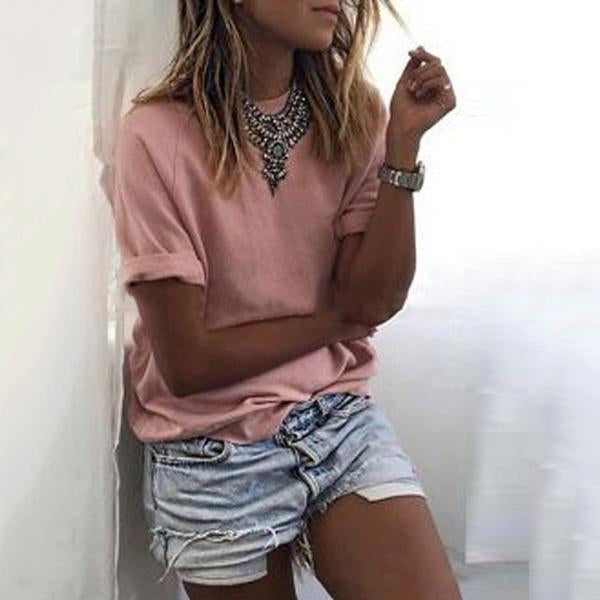 Solid Color Casual Crew Neck Loose Blouse