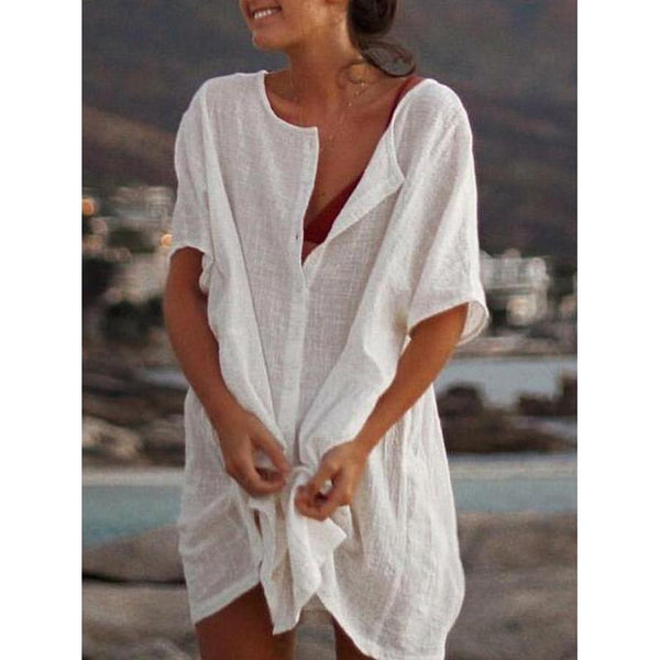 Plus Size Casual Short-Sleeve Solid Buttoned Dress