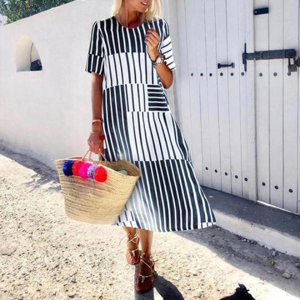 Summer Casual Round Neck Stripe Short Sleeve Dress
