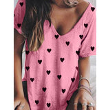 Heart Printed V Neck Loose Blouse