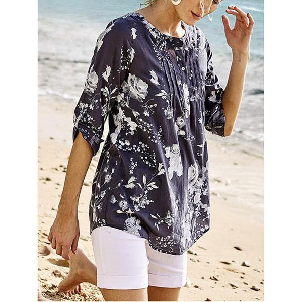 Casual Cotton Blend V-Neck Printed  Blouse