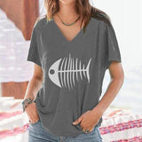 Fish Tone Printed Loose V Neck Blouse