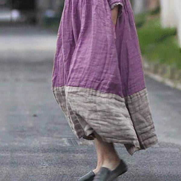 Casual Loose Stitching Color Maxi Dress