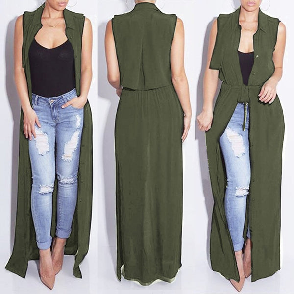 Sexy Solid Color Sleeveless Long Shirt Maxi Dress