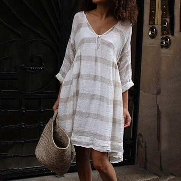 Plus Size Stripe Loose Daily Dress