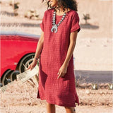 Summer Daily Solid Color Round Neck Dress