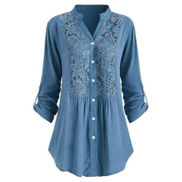 Plus Size Women Solid Color Lace Patchwork Single Breasted Blouse