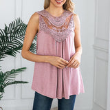 Casual Lace Embroidery Sleeveless Blouse
