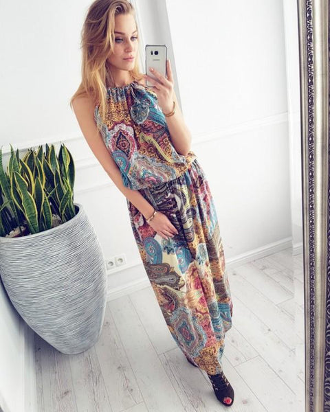 Bohemian ocean wind printed beach dress maxi dress