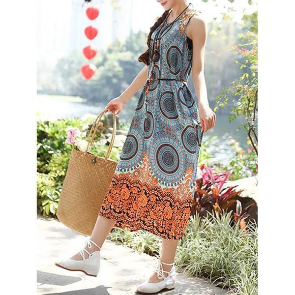Bohemian Printed O-Neck Sleeveless Dresses