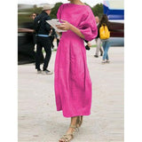 Women Round Neck 3/4 Sleeve Solid Color Daily Dresses