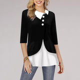 Women Lapel Irregular Women's Patchwork Blouses