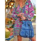 V-Neck Long Sleeve Printed A-Line Casual Dress
