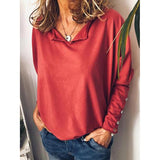 Fall Solid Color Loose Blouse