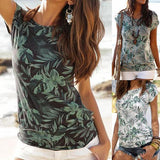 Summer Short Sleeve Round Neck Printed Blouse