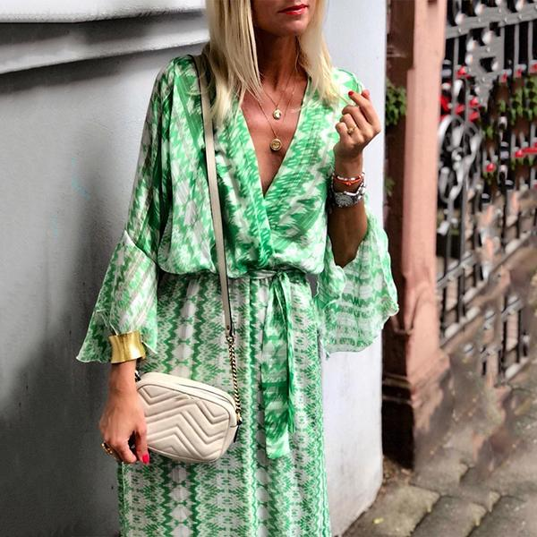 Bohemian V Neck Printed Vacation Dress