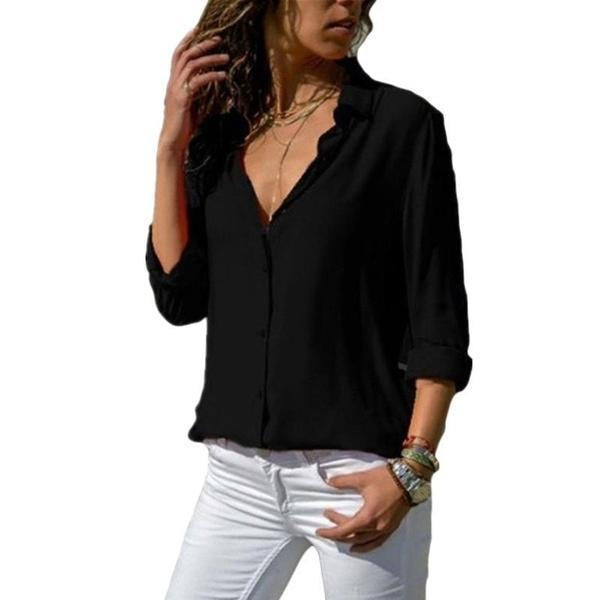 Women Solid Color Sexy Deep V-neck Loose Blouses