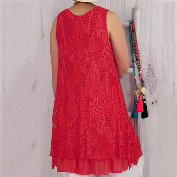 Solid Lace Casual Sleeveless Plus-Size Dress