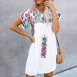 Plus Size Boho Printed Round Neck Dress