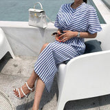 Elegant Stripe Front Split Dress