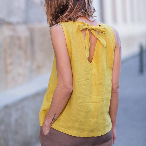 Solid Color Backless Lace-Up Sleeveless Blouse