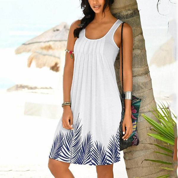 Women Printed Pleated Sleeveless Casual Dress
