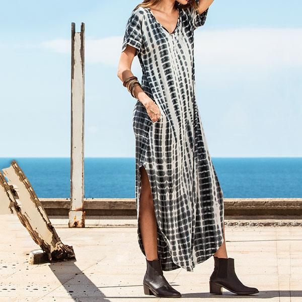 Casual V Neck Printed Side Split Maxi Dress