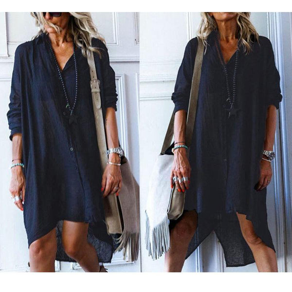 Irregular Solid Color Shirt  Dress