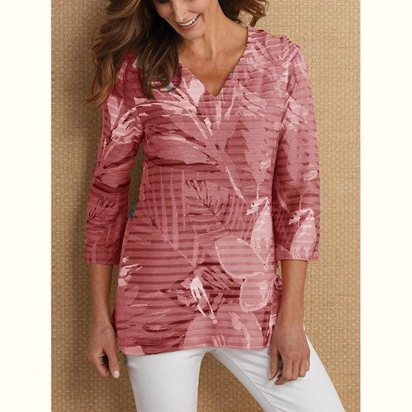 V Neck Long Sleeve Printed T-Shirts