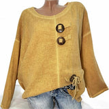 Plus Size Solid Color V Neck Button Blouse