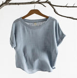 Women Cotton Linen Loose Irregular Hem Blouse