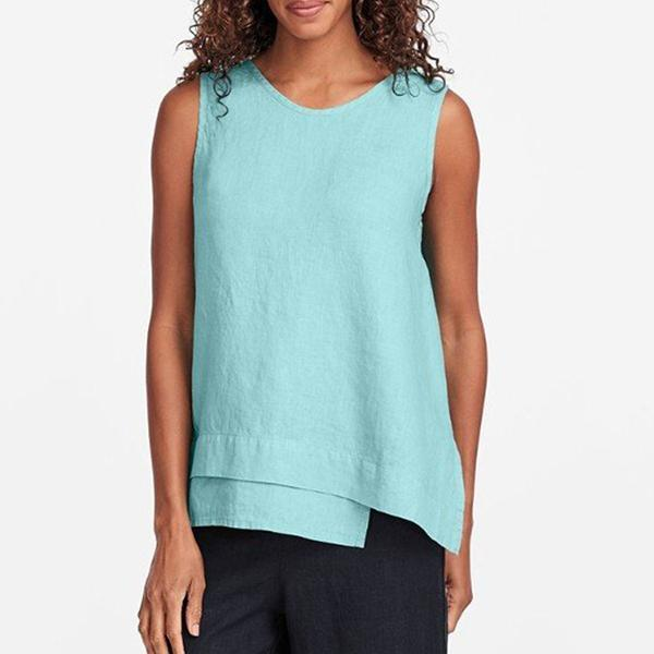 Irregular Solid Color Sleeveless Blouse