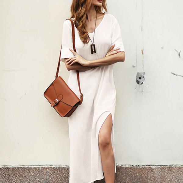 Solid Color Side Split V Neck Dress